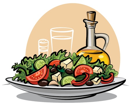 plate of food: fresh green salad Illustration