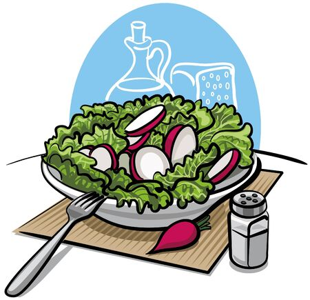 salads: fresh green salad with radish
