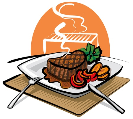 beef steak: filete de res a la parrilla Vectores