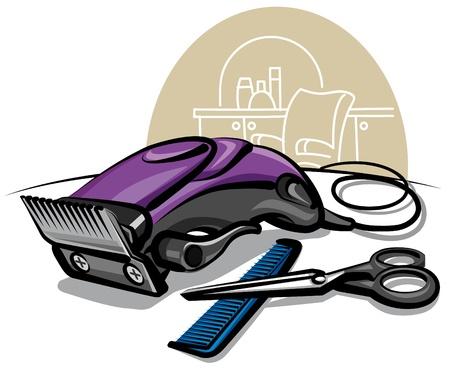 barbershop: tondeuse Stock Illustratie