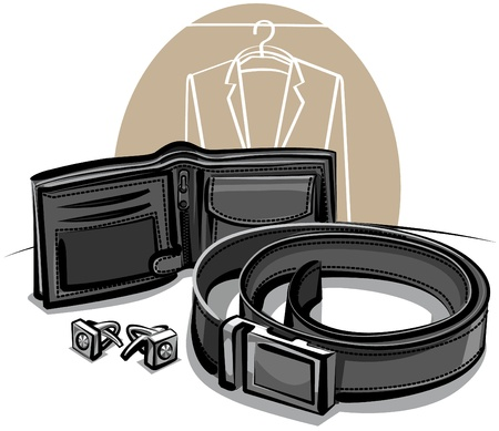 belt, wallet and cuff links Stock Vector - 9930032