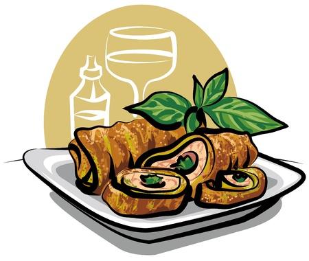 spring roll: involtino primavera fritto di pollo Vettoriali