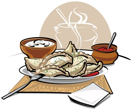 chinese cuisine: dumplings with sauce and sour cream