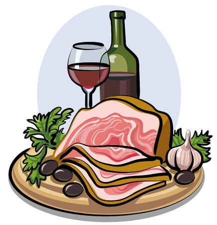 raw ham: fresh bacon and red wine