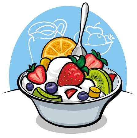 fruitsalade met yoghurt en aardbei