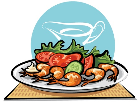 fried shrimps and vegetables Stock Vector - 9930034