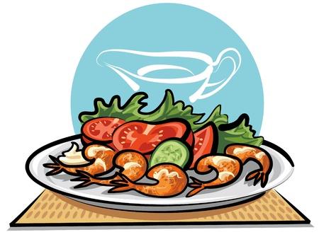légumes et crevettes frites