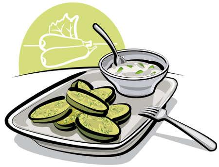 zucchini: fried zucchini with sauce Illustration