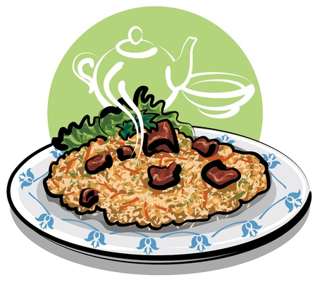 cooked meat: hot pilaf