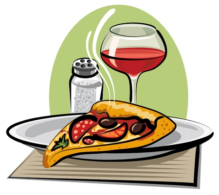 portion: hot pizza and wine