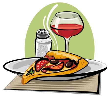mozzarelle e formaggi: vino e pizza calda Vettoriali