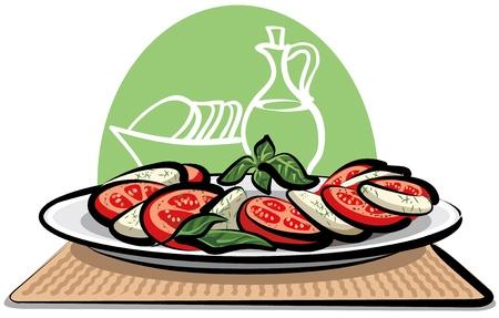 Ensalada de tomates y mozzarella Ilustración de vector