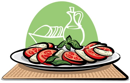 tomatoes: salad with tomatoes and mozzarella Illustration