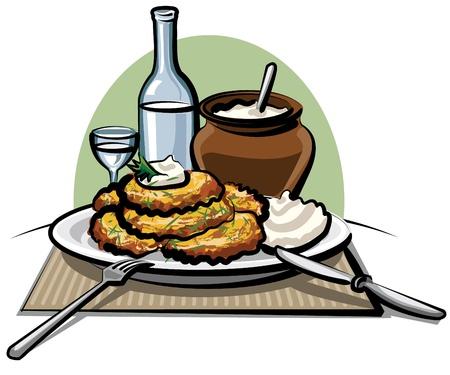 prepared potato: Potato pancakes with sour cream and vodka Illustration