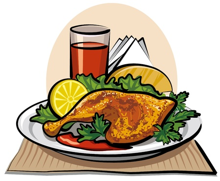 roast dinner: roasted chicken drumstick and tomato juice Illustration