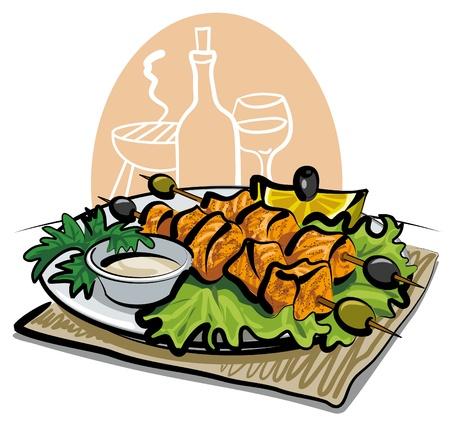 grilled salmon: grilled salmon kebab