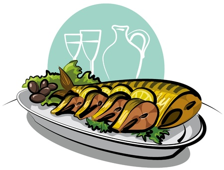 smoked mackarel, lemons and olives Vector