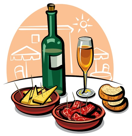 spanish appetizers and wine Vector