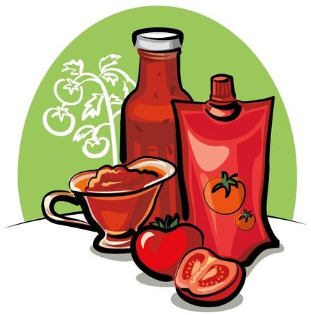 salsa de tomate y salsa de tomate Ilustración de vector