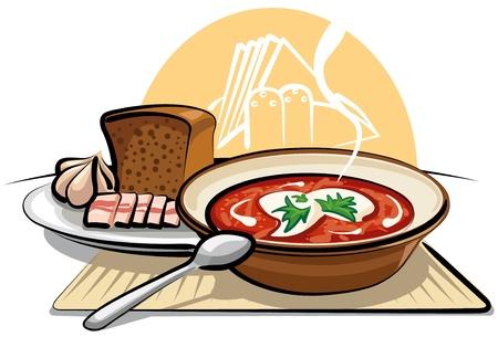 schmalz: Borscht Suppe und Knoblauch mit Schinken Illustration