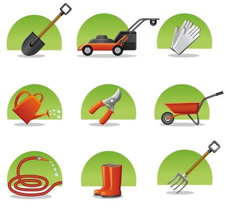 carretilla: herramientas de jardín de iconos de Web