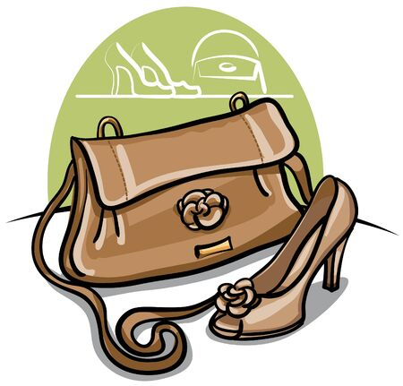 shoe and handbag Vector