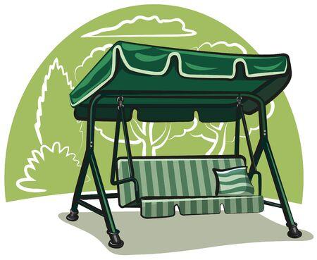 flower bed: garden swing Illustration