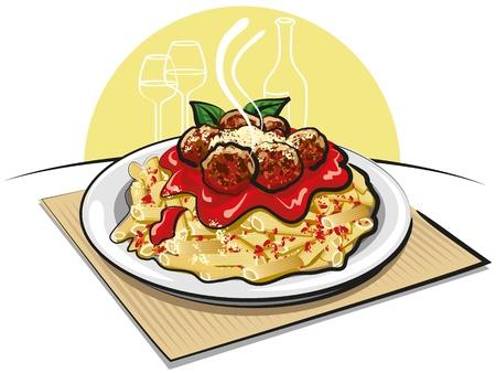 parmigiano: pasta con le polpette Vettoriali