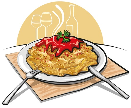 pasta with sauce Illustration