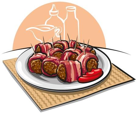 bacon wrapped meatballs Stock Vector - 10399194