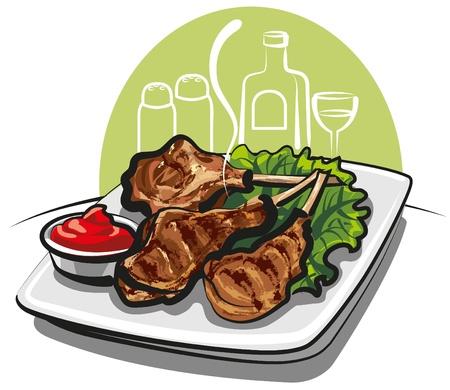 grill meat: C�telettes d'agneau grill�es
