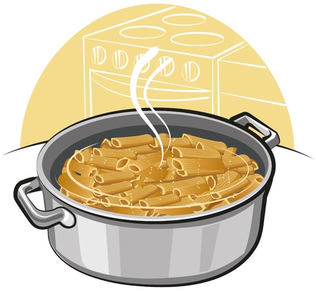 boiling pot: pasta in the pot Illustration