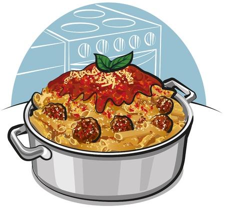 italian cuisine: rigatoni pasta with meatballs