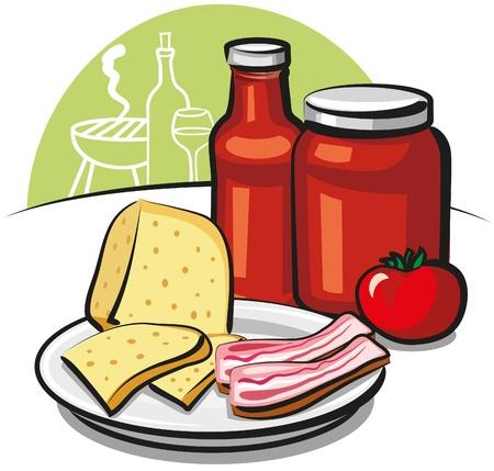parmigiano: salsa di pomodoro, formaggio e pancetta Vettoriali