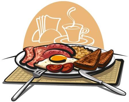 desayuno inglés Ilustración de vector