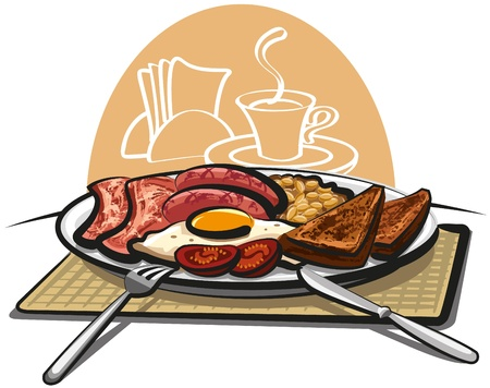 fried: english breakfast Illustration