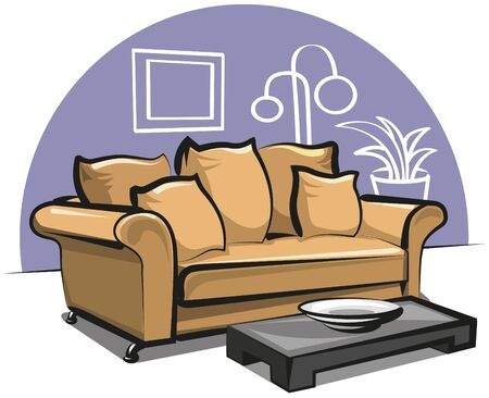 couch with pillows Illustration