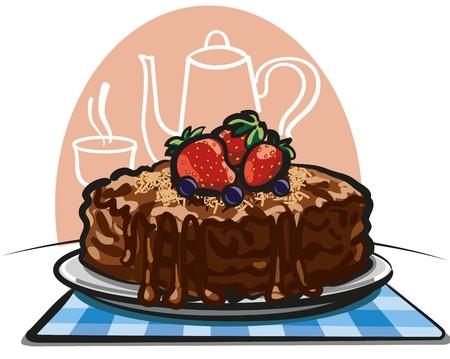 застекленный: шоколадный торт Иллюстрация