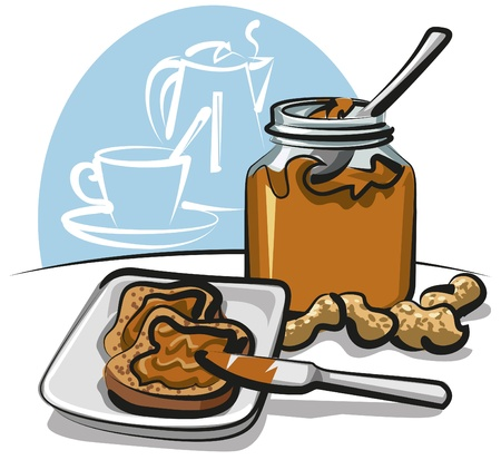 sandwich spread: peanut butter sandwich Illustration