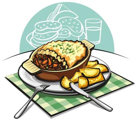 으깬: 볶음 감자 양치기 고기 파이