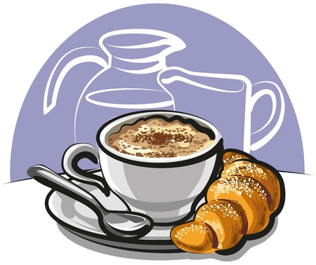 french cafe: Cappuccino With Croissant