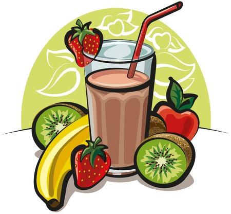batidos de frutas: Coctel de frutas Vectores