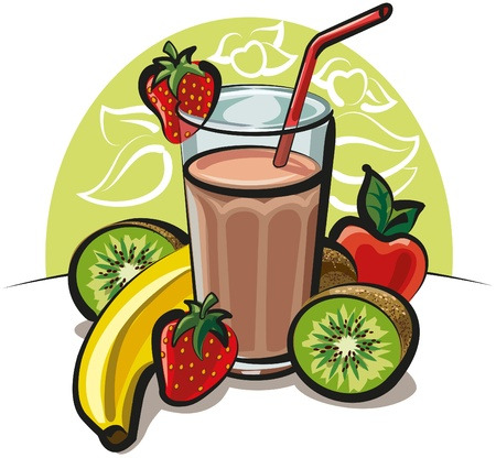 fruit shake: fruit cocktail Illustration