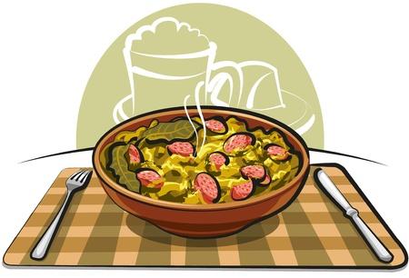sauerkraut with sausage Vector