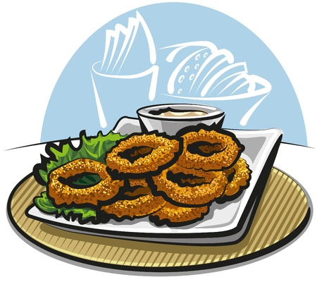 fried squid rings Stock Vector - 10611468