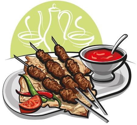 pinchos morunos: Kebab con pan de pitta
