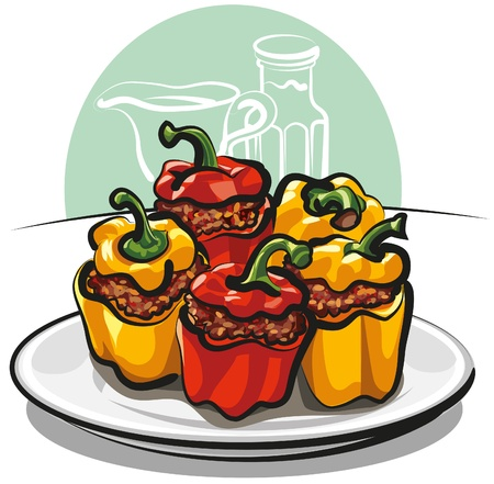 cooked rice: Stuffed peppers Illustration