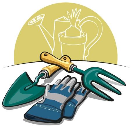 cultivating: herramientas de jardines y guantes Vectores