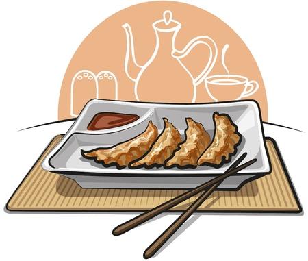 клецка: Китайские жареные пельмени Иллюстрация