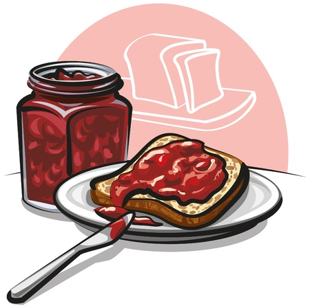 jam with bread Illustration
